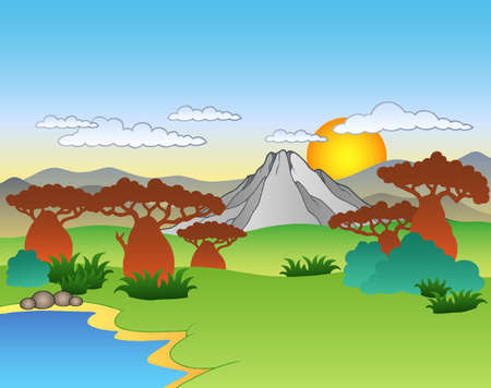 volcano: Cartoon African landscape - illustration. Illustration