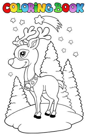 Coloring book Christmas reindeer  - illustration. Vector