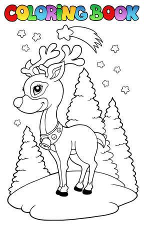 comet: Coloring book Christmas reindeer  - illustration. Illustration