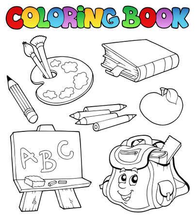 Coloring book with school images - illustration. Stock Vector - 8350131