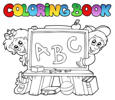 Coloration du livre avec des images de scolaires - illustration.