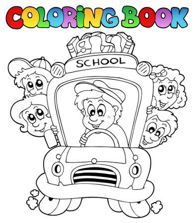 autobus: Coloring book with school images - illustration.