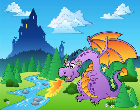 forest fire: Fairy tale image with dragon - illustration.