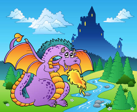 tales: Fairy tale image with dragon - illustration.