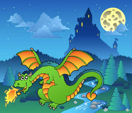 Fairy tale image with dragon  - illustration. Vector