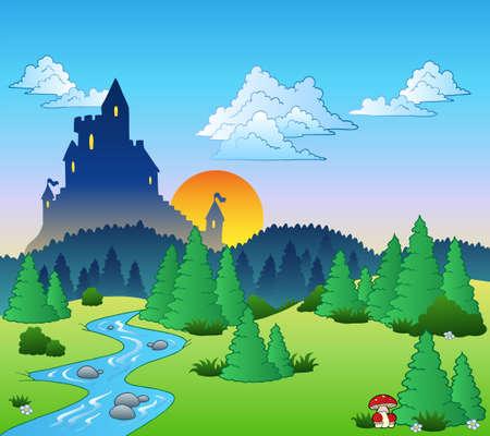 coniferous forest: Paisaje de cuento de hadas - ilustraci�n.