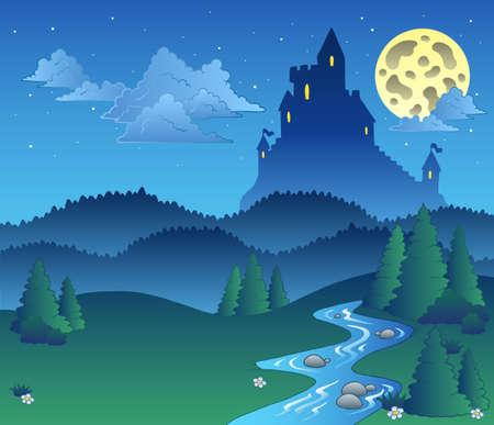 coniferous forest: Paisaje de cuento de hadas en la noche - ilustraci�n. Vectores