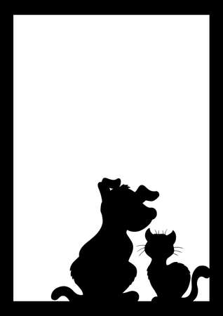 puppy and kitten: Frame with cat and dog silhouette - illustration.