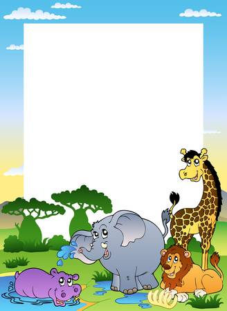 giraffe frame: Frame with four African animals - illustration.