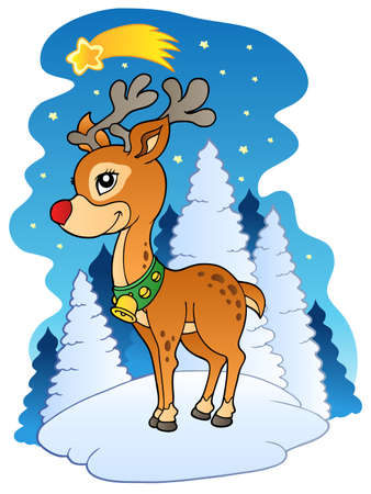 Christmas reindeer with comet - illustration. Stock Vector - 8350147