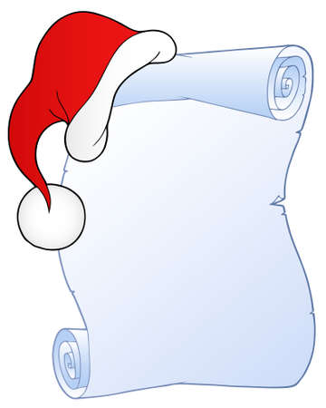 wish list: Christmas scroll with hat  - illustration.