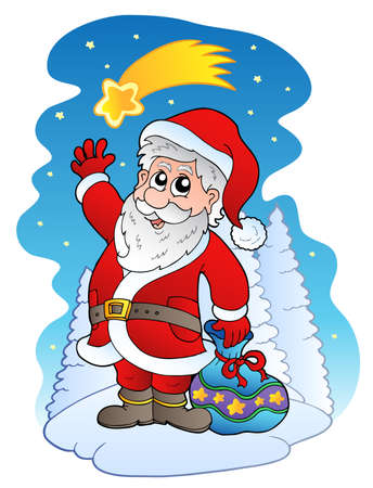 Santa Claus with comet - illustration. Stock Vector - 8350148