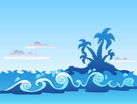 Seascape with palm island and waves - illustration. Vector