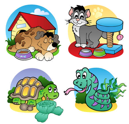 kennel: Various pets images  - illustration. Illustration