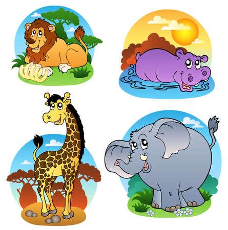 hippopotamus: Varios animales tropicales - ilustraci�n.