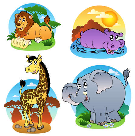 animals in the wild: Various tropical animals - illustration.