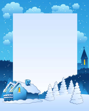 snowing: Winter frame with small village - illustration. Illustration