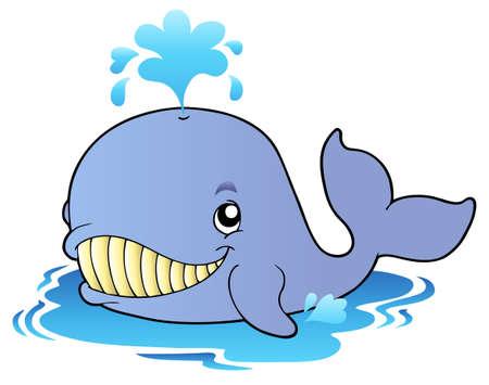 ballena azul: Dibujos animados gran ballena Vectores