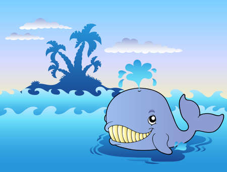 Big cartoon whale in sea  Vector