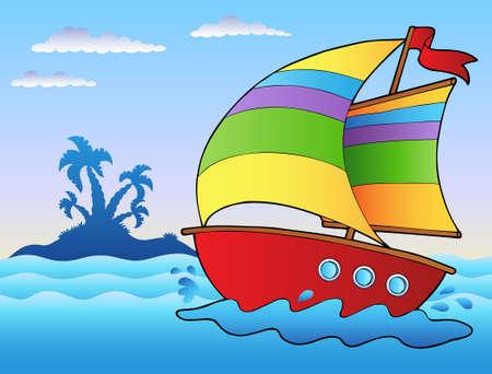 maritimo: Dibujos animados velero cerca de la peque�a isla