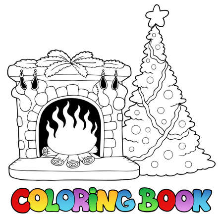 christmas theme: Coloring book with fireplace