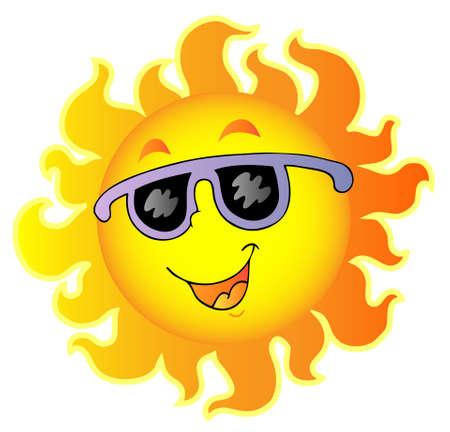 sol caricatura: Happy Sun con gafas de sol