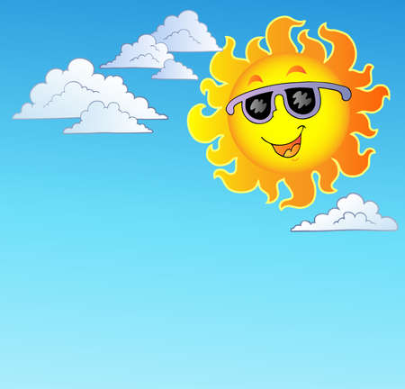 sun protection: Happy Sun with sunglasses on sky Illustration
