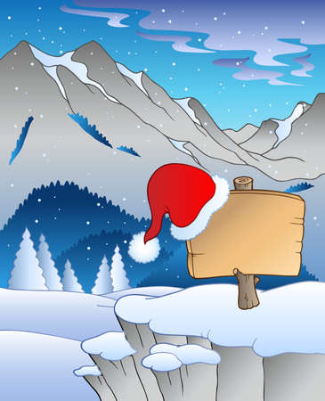 mountain holidays: Christmas board in winter landscape Illustration