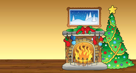 Kerst kaart met open haard