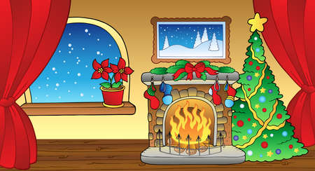 christmas room: Christmas card with fireplace Illustration