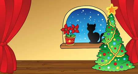 window curtains: Christmas card with tree and cat Illustration