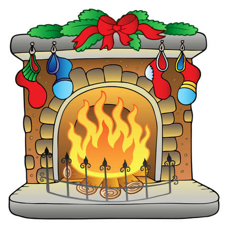 Christmas cartoon fireplace Vector