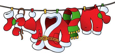 Christmas costume on clothesline Vector