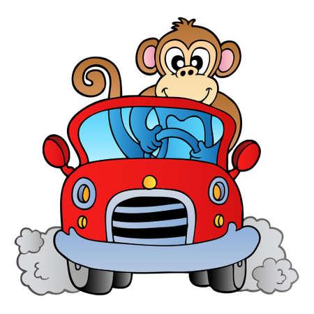 mono caricatura: Mono en coche