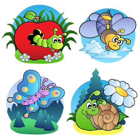 Various cute insect images Vector