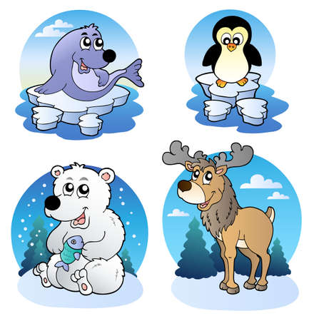 Various cute winter animals Vector