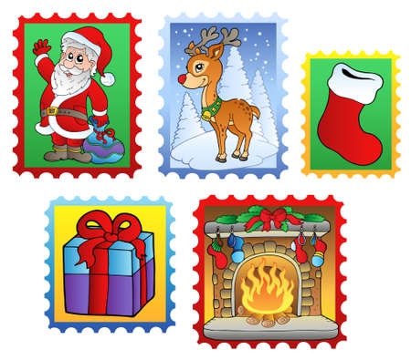 Various Christmas post stamps Vector