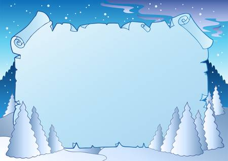 Winter landscape with blue scroll Stock Vector - 8433509