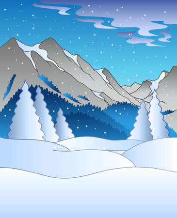 coniferous forest: Paisaje de invierno con colinas Vectores