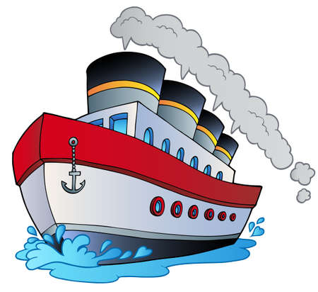 Big cartoon steamship - illustration. Vector