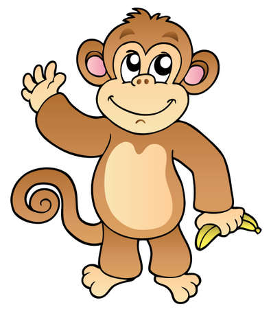 Cartoon waving monkey with banana - illustration. Vector