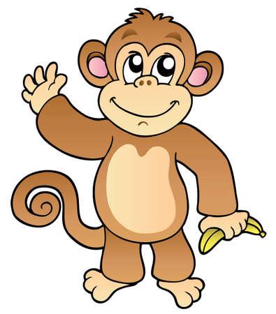 banaan cartoon: Cartoon wuivende aap met bananen - illustratie. Stock Illustratie
