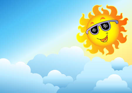 meteo: Cloudy sky with cartoon Sun - illustration.