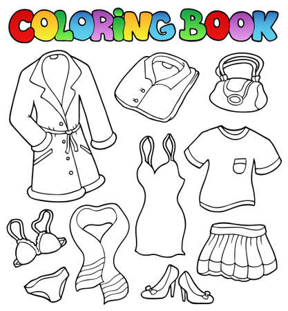 Coloring book dress collection - illustration. Stock Vector - 8475490