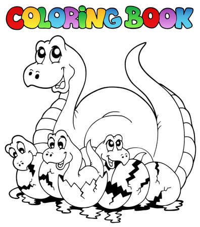 Coloring book with young dinosaurs - illustration. Vector