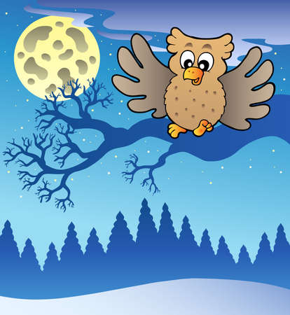 Cute flying owl in snowy landscape - illustration. Vector