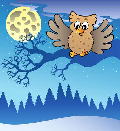 Cute flying owl in snowy landscape - illustration. Ilustração