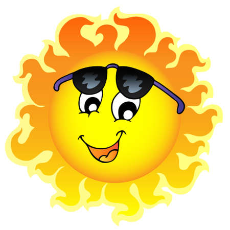 Cute funny Sun with sunglasses - illustration. Фото со стока - 8475496