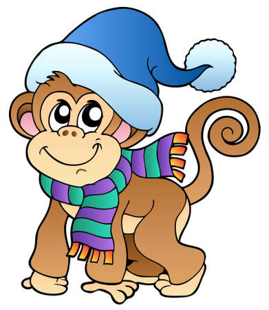cute cartoon monkey: Cute monkey in winter clothes - illustration.