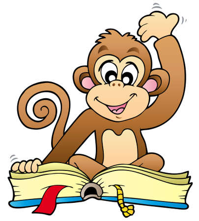 cartoon monkey: Cute monkey reading book - illustration.